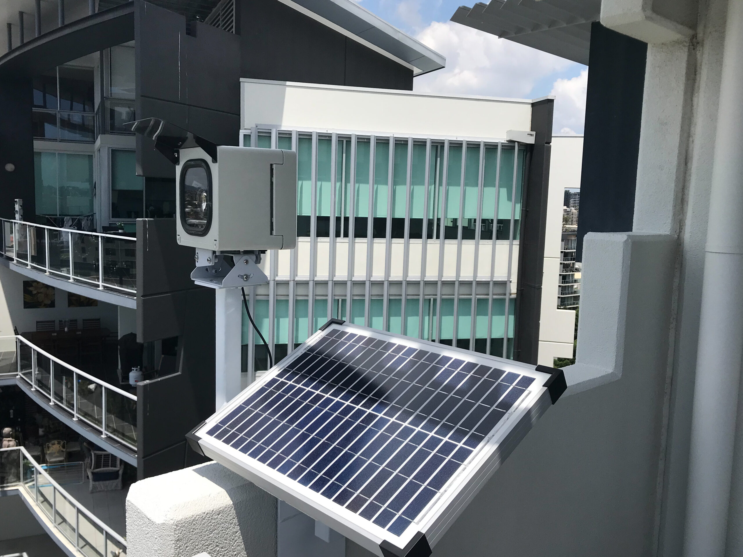 Time lapse camera installation on high rise building in Brisbane